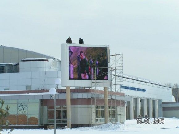 big snow very cold weather pole led display in Russia
