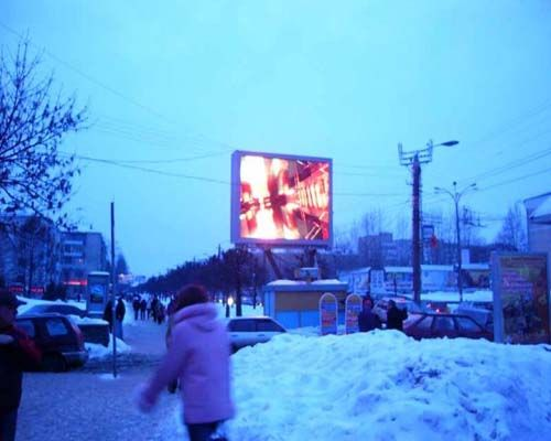 outdoor led screen working in snow cold weather Russia